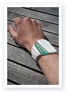 René Wach wearing a WACH designstudio Partner Porcelain bracelet
