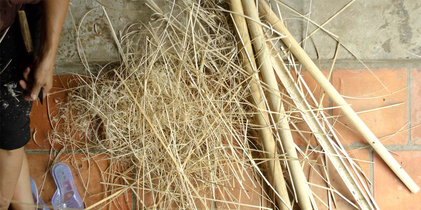 Cutting of bamboo stripes