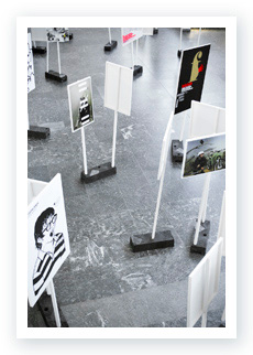 Top view at the exhibition 100 Beste Plakate 2008, Kunstgewerbemuseum Berlin