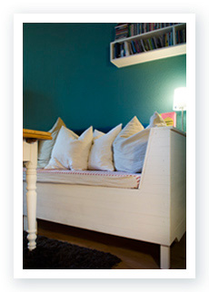 Handmade wooden Chest bench with white chalk paint