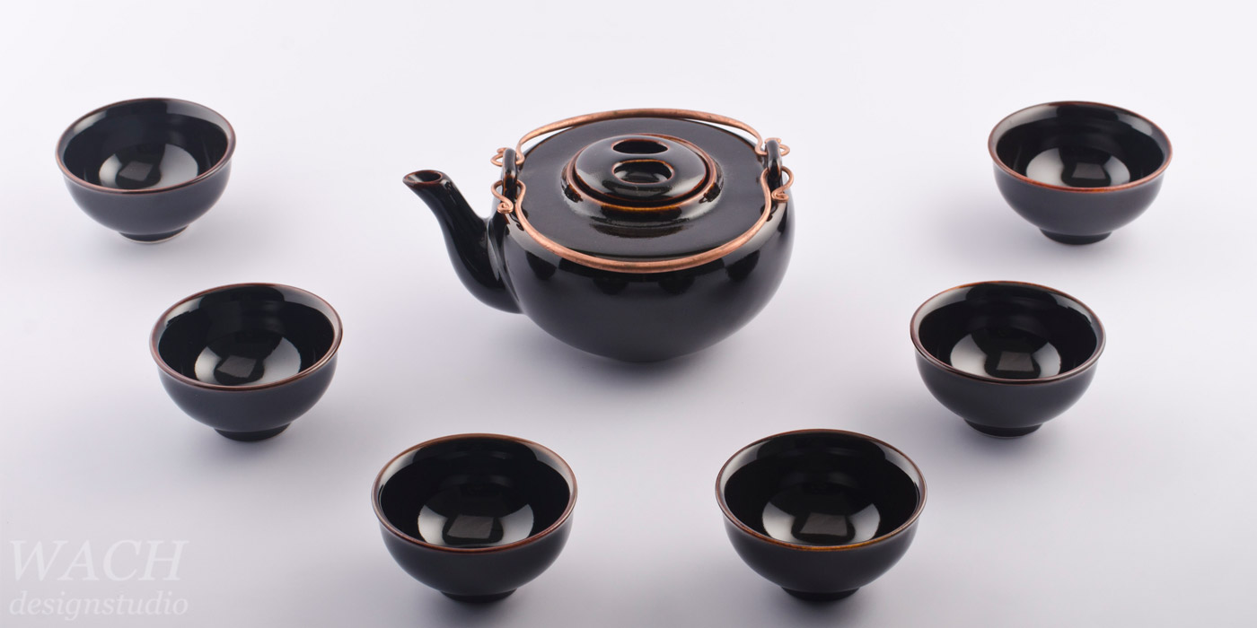 Half Moon Teaset with Tenmoku Black glaze. Phuc Duy ceramic produced in Tien Giang, Vietnam.
