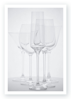 Transparency | Different types of transparent drinking glasses aligned