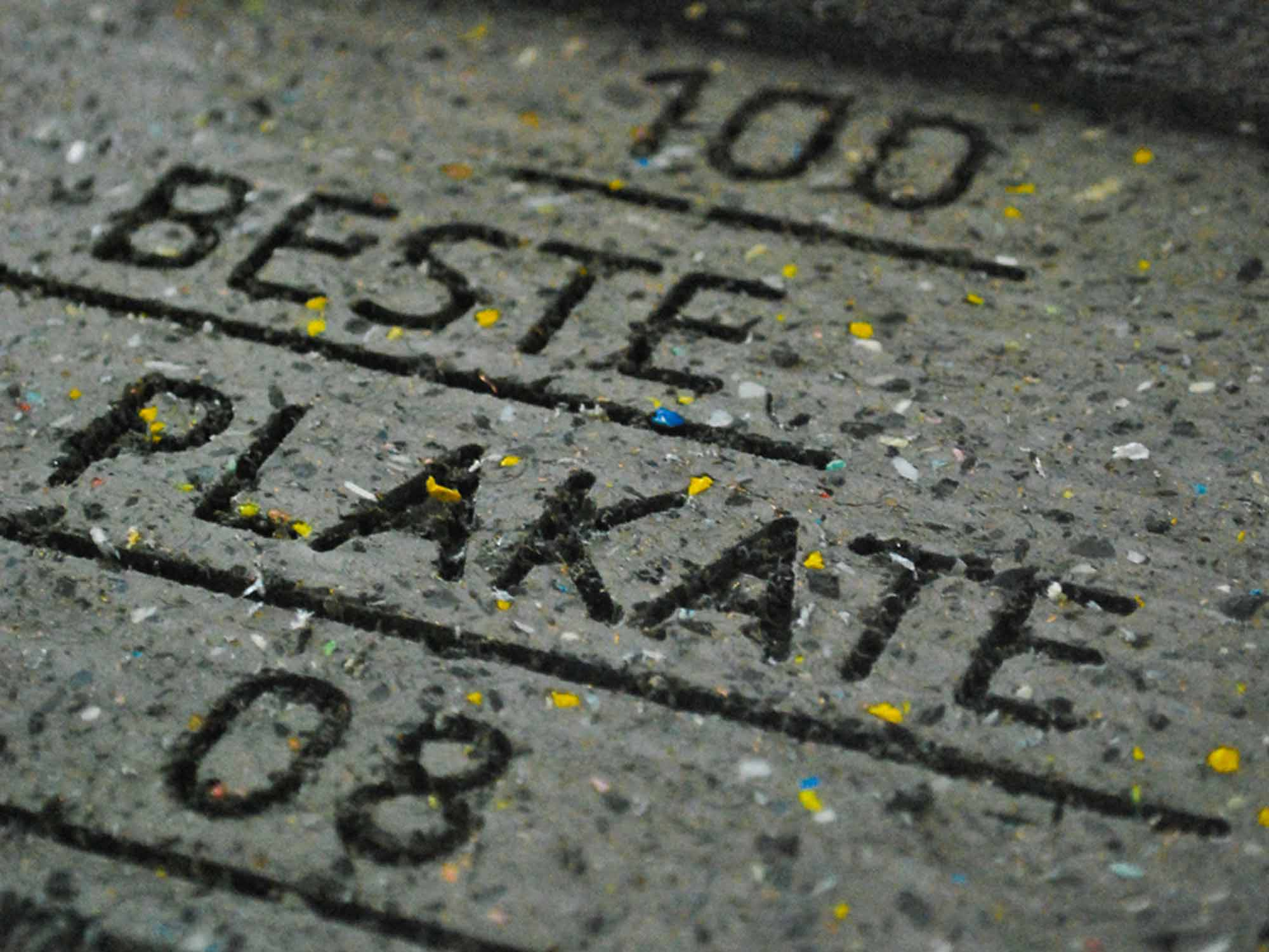 100 Beste Plakate 2008 Typography milled into the marker post used for the exhibition