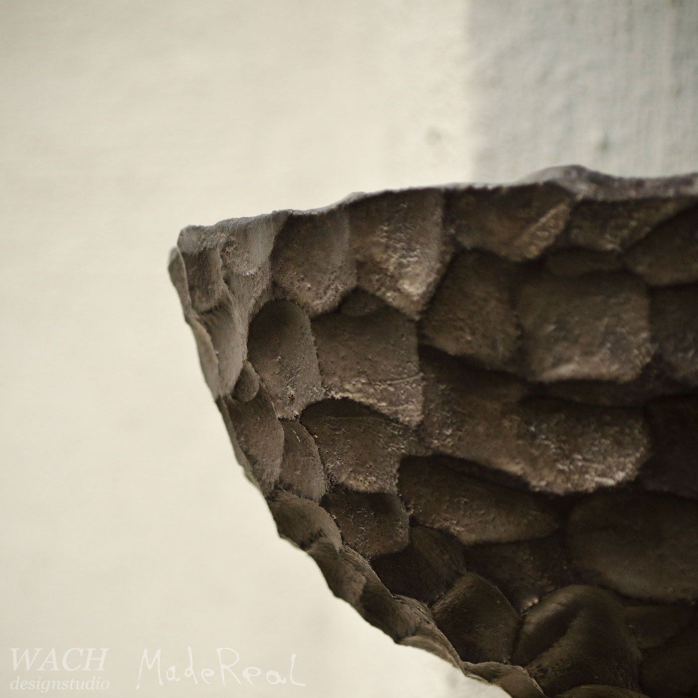 Detailed view at the MadeReal Carved Ceramics Bowl surface crafted by Anna R Kinman