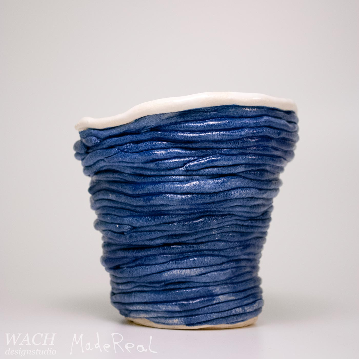 Prototype of a MadeReal Coil Cup with Blue Glaze