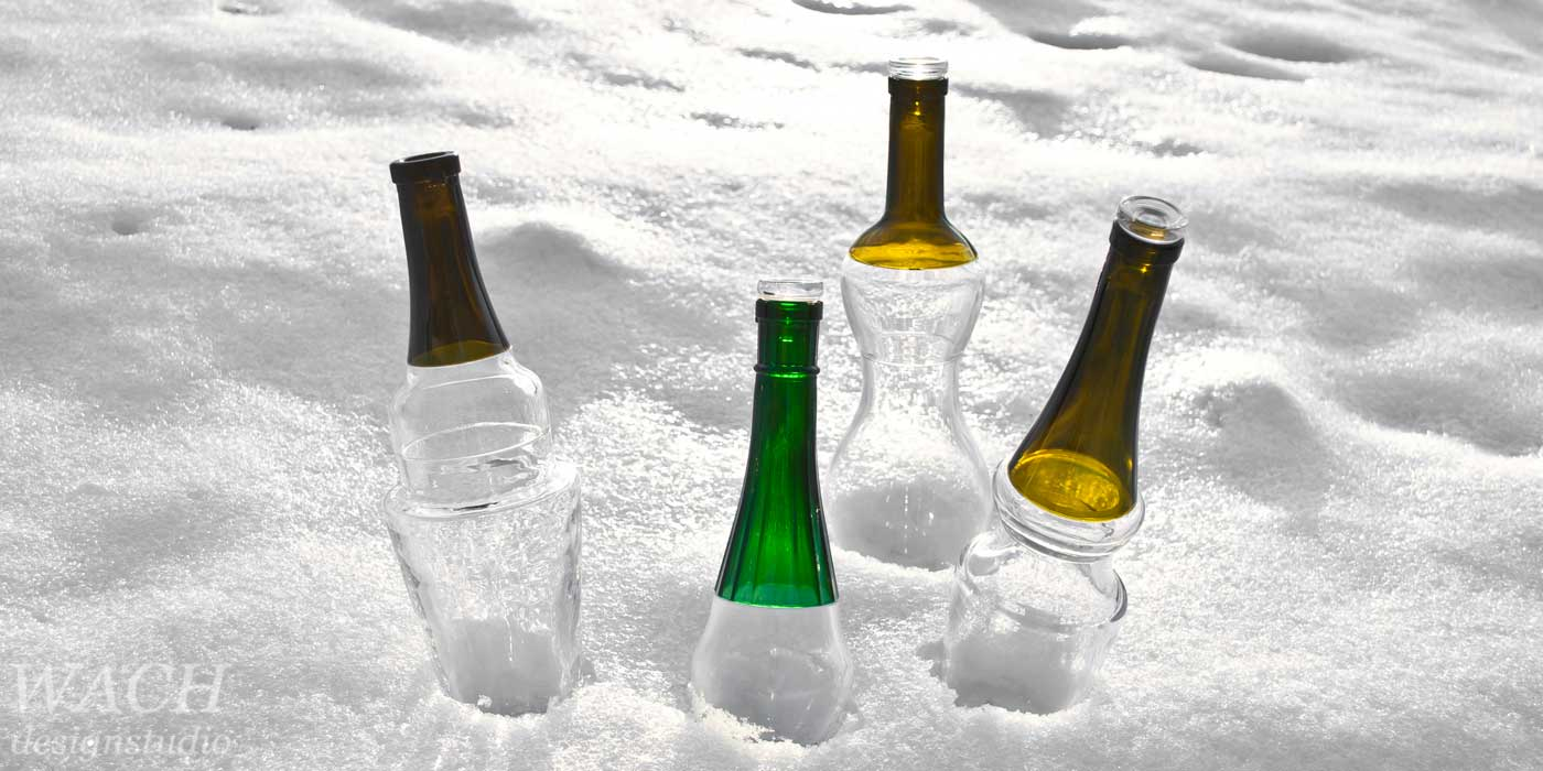 Flaska prototype bottles draped in the snow