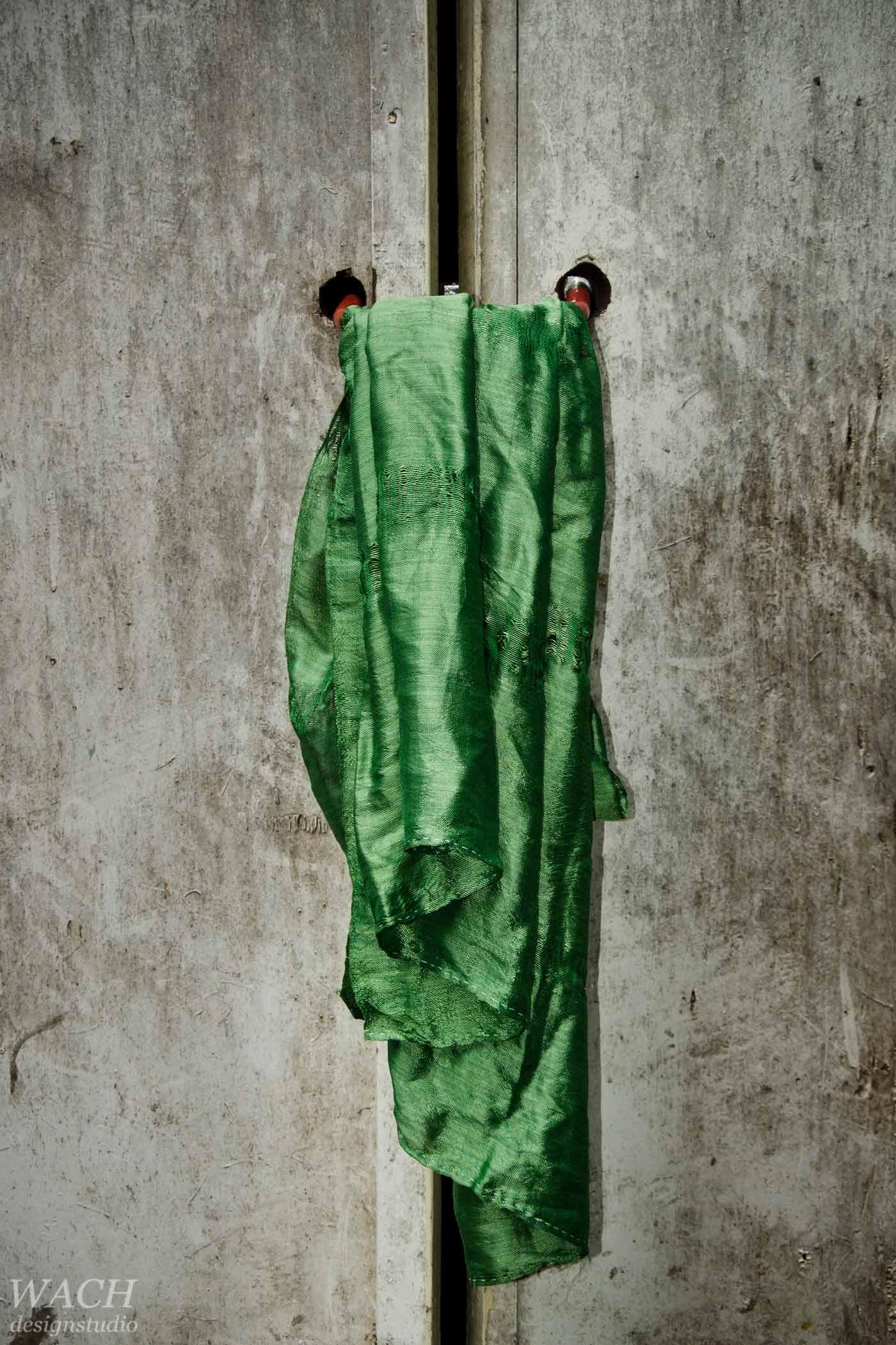 Green handcrafted vietnamese silk scarf