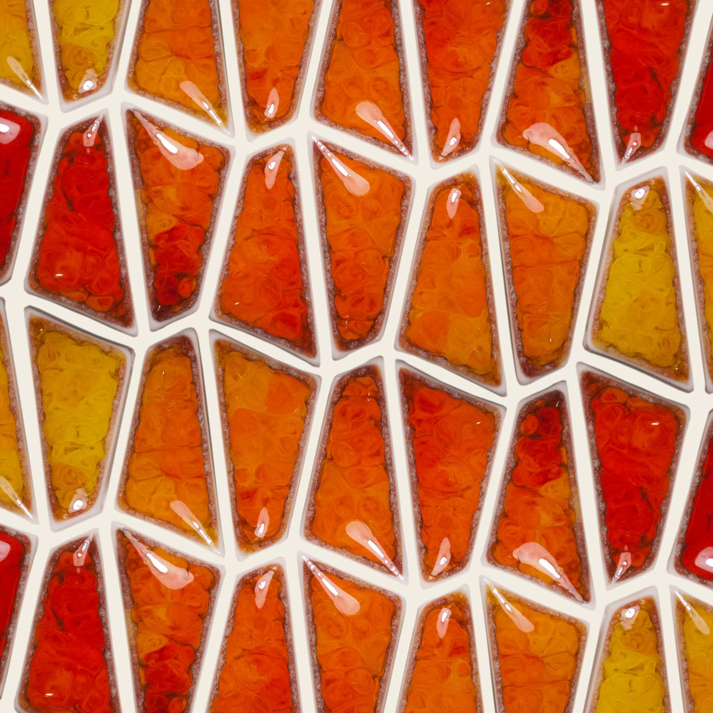 Partner Porcelain Orange and Red Glazed Centerpieces