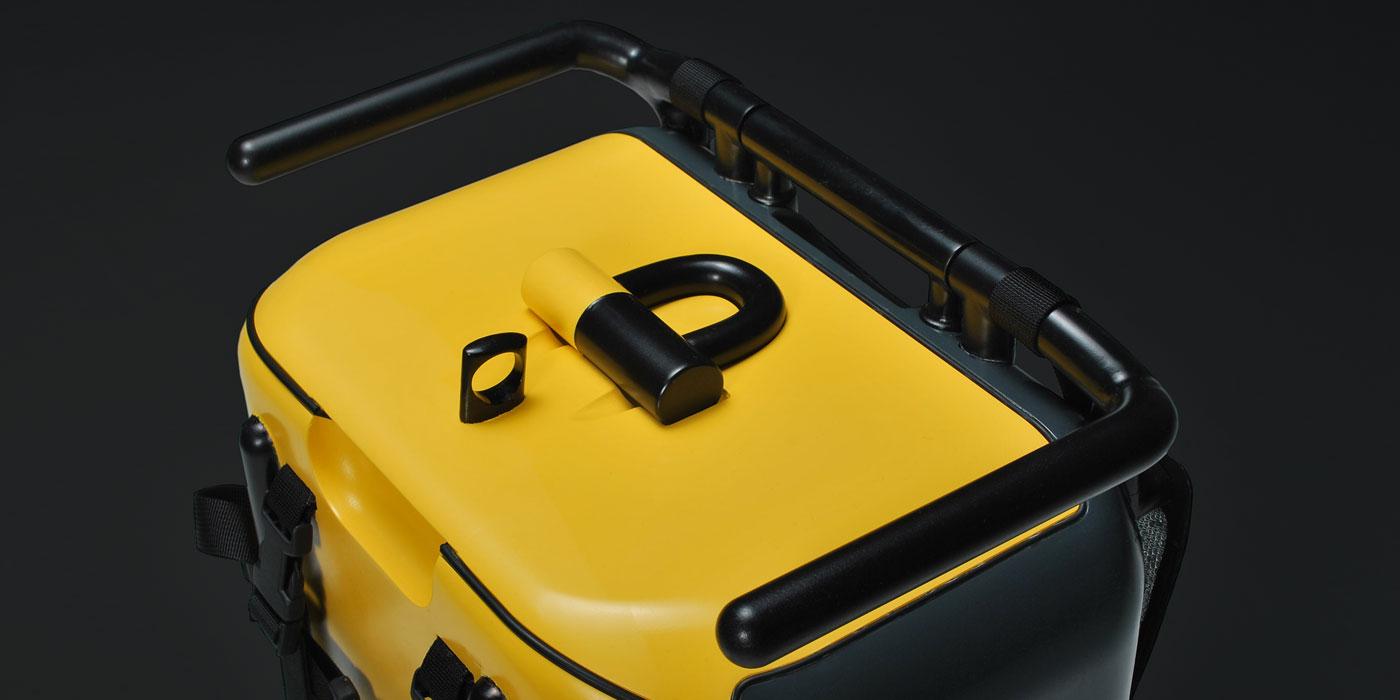 Stadtkoffer mockup by WACH designstudio detailed view of embedded Kryptonite bike lock
