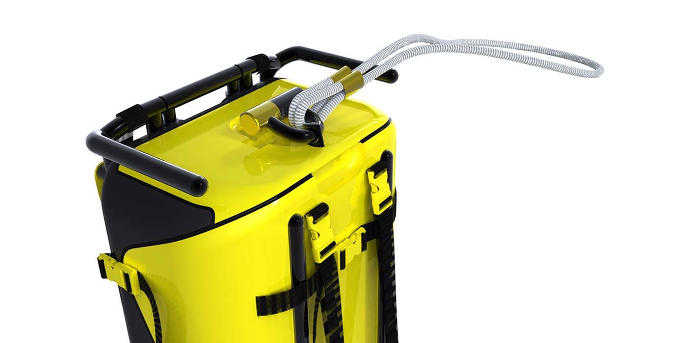 Stadtkoffer rendering showing locking mechanism using Kryptonite bike lock and locking leash