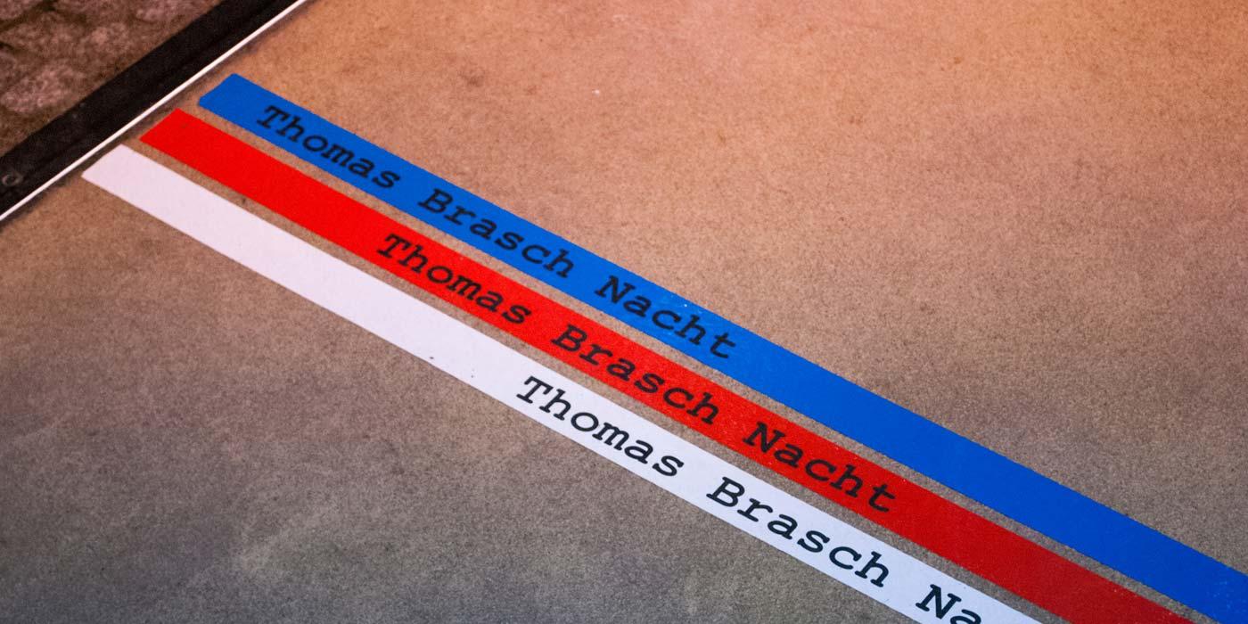Entrance Brasch-Nacht with floor signage by WACH designstudio and Daniel Grötzsch