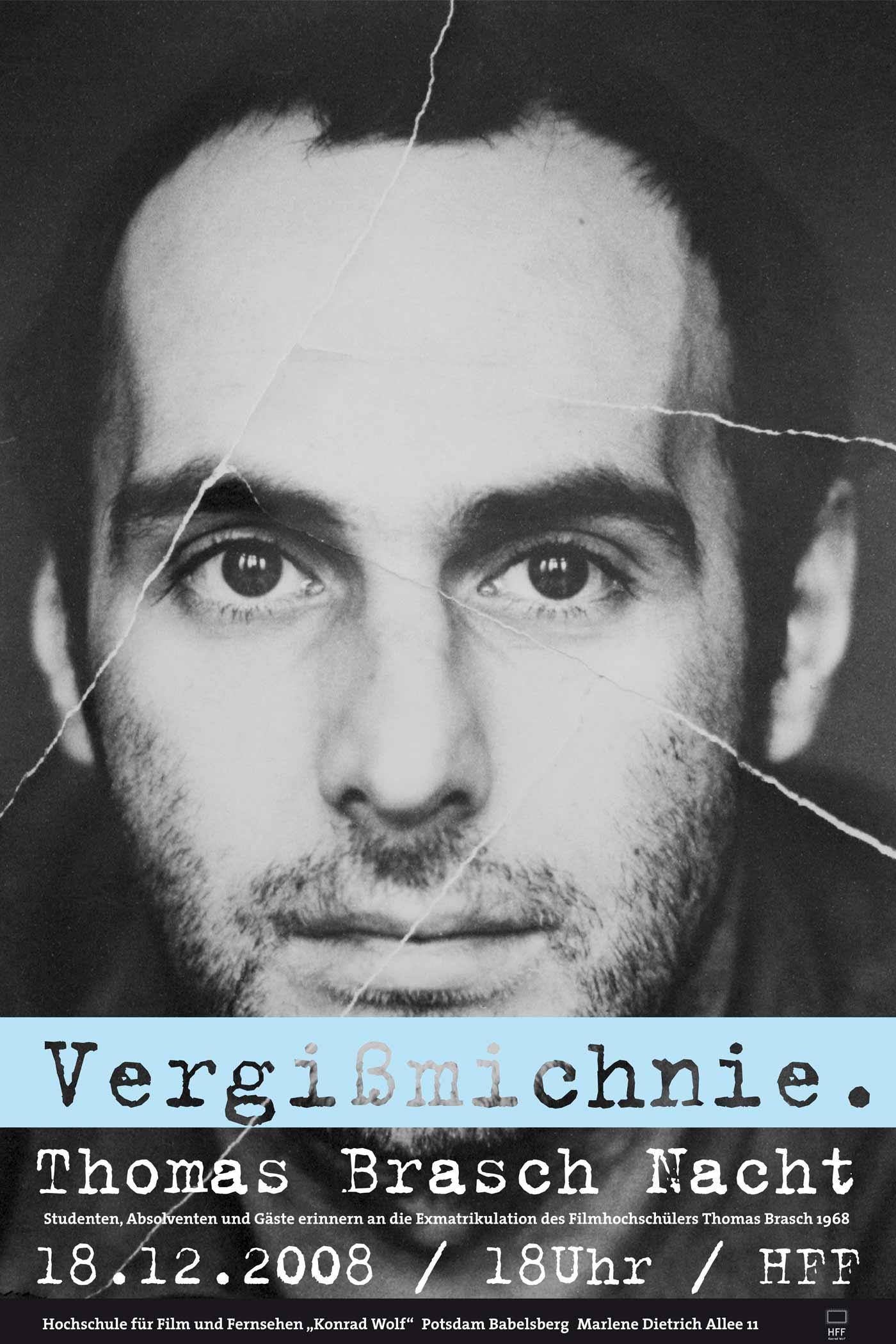 Thomas Brasch Poster for HFF Brasch-Nacht designed by WACH designstudio and Daniel Grötzsch